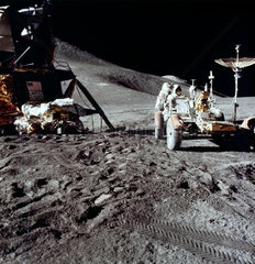 Apollo 15 astronaut James Irwin  and the Lunar Rover on the Moon  August 1971.