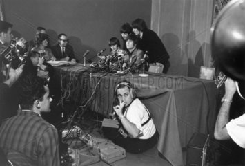 The Beatles at a press conference  with Andy Warhol  New York  1964.