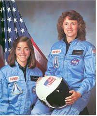 American astronauts Christa McAuliffe and Barbara Morgan  c 1986.