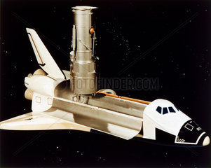 Space Shuttle and Hubble Telescope  1980s.