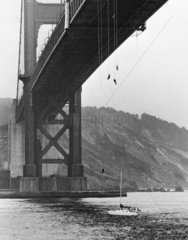 Bungee jumpers  Golden Gate Bridge  San Francisco  USA  October 1979.