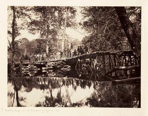 'Military Bridge over the Chickahominy  Virginia  1862'.