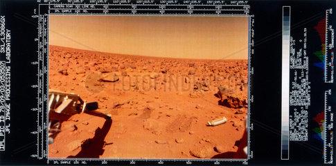 Martian landscape from the Viking 2 Lander  1976.