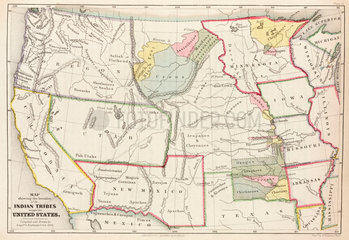 'Map showing the location of the Indian Tribes within the United States'  1852.