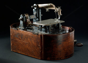 Early Wheeler and Wilson hand powered lock stich sewing machine  model  c 1885.