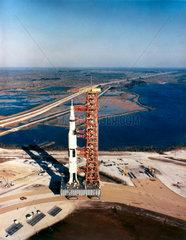 Saturn V rocket on transporter  1967.