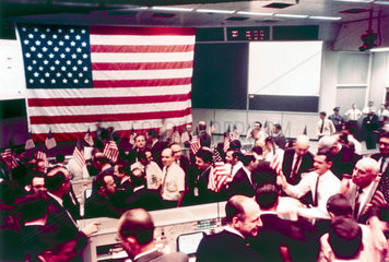 Mission Operation Control Room at the end of the Apollo 8 mission  1968.