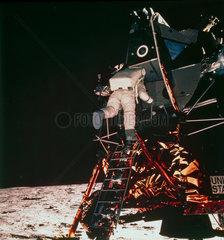 Apollo 11 astronaut Edwin 'Buzz' Aldrin descending to the lunar surface  1969.