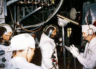 Apollo 9 astronauts Russell Schweickart and David Scott  1969.