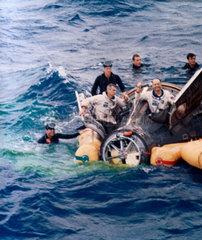 Gemini 9 spacecraft after splashdown  1966.