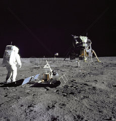 Buzz Aldrin looks back at Tranquility Base  20 July 1969.