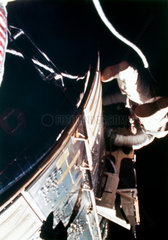 Apollo 15 astronaut  Alfred Worden  walking in space  August 1971.