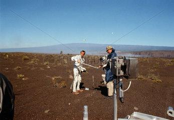 Practicing sampling of geological specimens  1970.