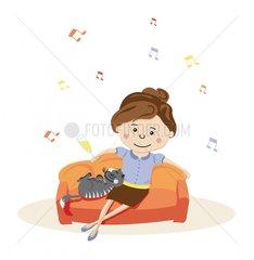 Frau Faulenzen Musik Sonntag Katze Sofa Pause