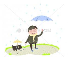 Regen Mann Hund Spaziergang Regenschirm Regentropfen