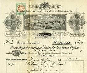 historische Rechnung  Compagnie Liebig  1891