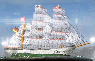 Gorch Fock als Buddelschiff