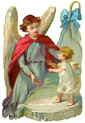 Schutzengel behuetet Baby  1895