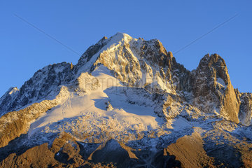 The Aiguille Verte and the Drus in autumn from Les Cheserys  Aiguilles Rouges Massif  Haute Savoie  Alps  France