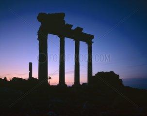 Raising of Moon and Venus on Apollo temple Turkey