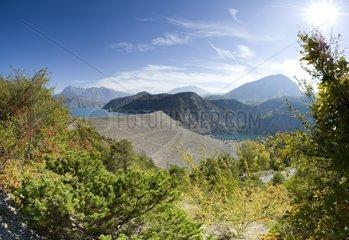 Filling up of Serre-Ponçon Lake Alps France