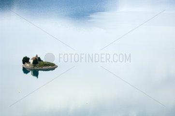 Serre-Ponçon lake and Chapelle Saint-Michel Alps France