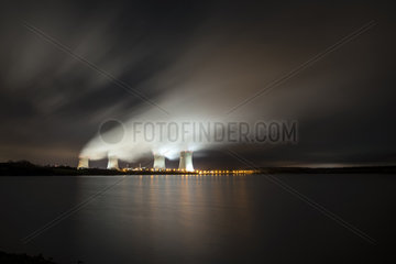 Cattenom nuclear power plant in the night  Moselle  France