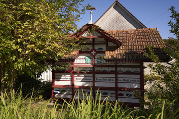 Beekeeping - A traditional chalet apiary at the Bregensdorf farm. First cited in 1315  the farm has housed basket hives for centuries. Beekeeping is a complementary activity for the Fisch family. Take the example of the hardworking bees  it is only through work that benediction comes . Switzerland