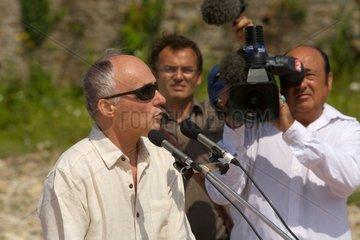 Activist against green tides speaking Brittany France