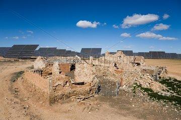 Solar farm and farm ruin Zaragoza Spain