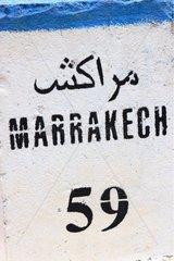 Kilometre-marker at Stifadma Valley of Ourika Morocco