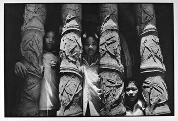Children in the cathedral of Phat Diem Vietnam