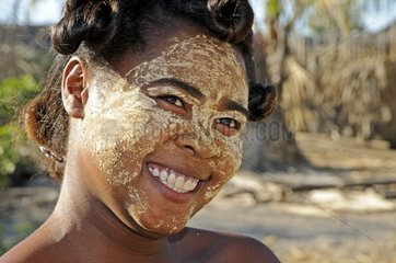 Portrait of a woman wearing a Beauty mask Malagasy