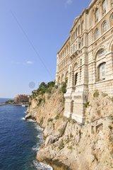 Facade of the Monaco Oceanographic Museum in seafront
