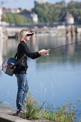 Street fishing in Besancon - Franche Comté France