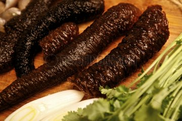 Sea cucumbers cooked ready to be fried and eaten China