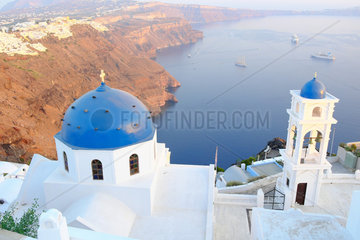Chapel of Imerovigli  village located 2 KM from Fira at overlooking the caldera. Santorini  Cyclades  Greece