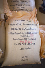 Ecocert traceability on bag for export  Drying and bagging center  CECAB  Organic Cocoa Production and Export Cooperative  Fair Trade  Guadalupel  Sao Tome and Principe Island