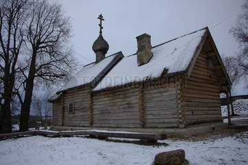 Church of it St George XII century old under snow Russia