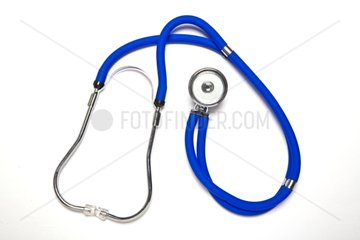 Blue stethoscope on white background