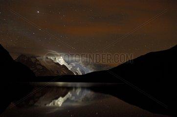 Goléon Lake and Massif de la Meige at night Ecrins France