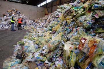 Recyclable household waste in a sorting France