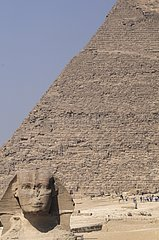 Great Sphinx and Khafre's Pyramid in Giza plate Egypt