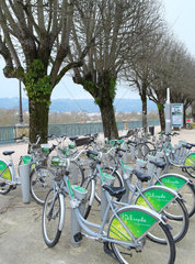 Bicycles put at the disposal of the public  Velib is a means established by several cities in France to fight traffic congestion and urban pollution  Pau  Pyrenees Atlantiques  France