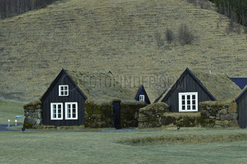 Turf-roofed cottages from the 19th century rebuilt from the museum  Skogar  south Iceland