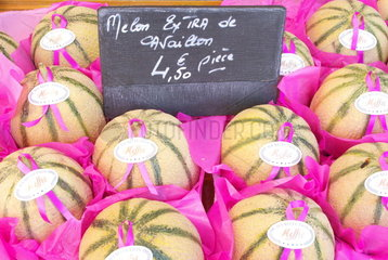 Cavaillon seasonal melons presented in a crate for sale on a market and displayed price  Perigueux  France