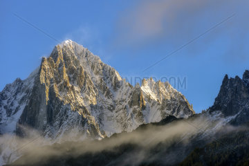 The Aiguille Verte and the Drus in autumn from Les Houches  Chamonix Valley  Haute Savoie  Alps  France
