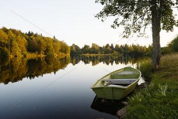 Pond at sunset  plateau des Mille etangs  Franche-Comte  France