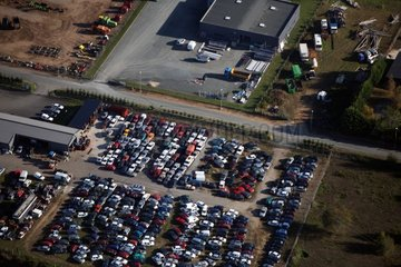 Motor vehicles stored in a junk yard Indre France