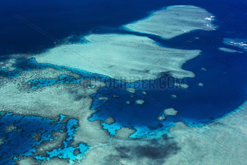 Aerial view of the coral reef  Mayotte  Indian Ocean